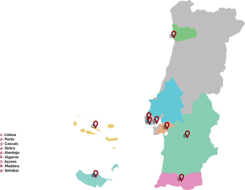 portugal map adn eventos